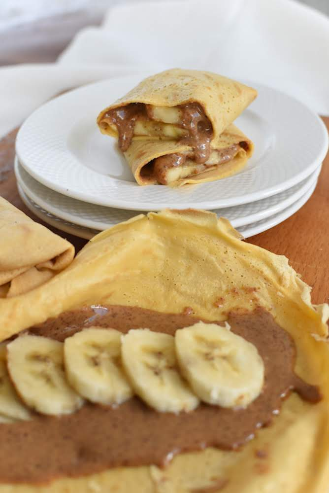 crepes, banana, crepioca, manteiga amendoa