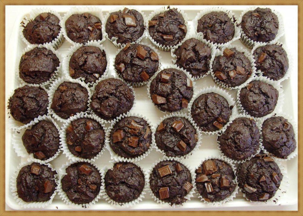 Muffins de chocolate e aveia