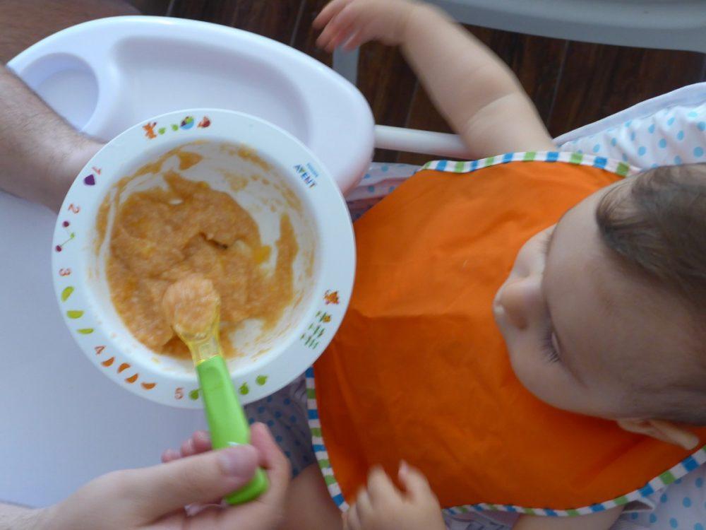 papa, bebe, comer, cadeira