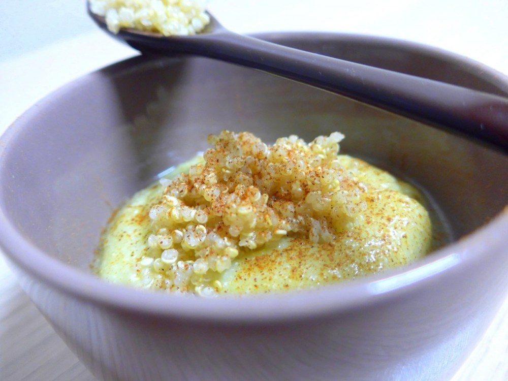 Papas de quinoa, pêra e abacate