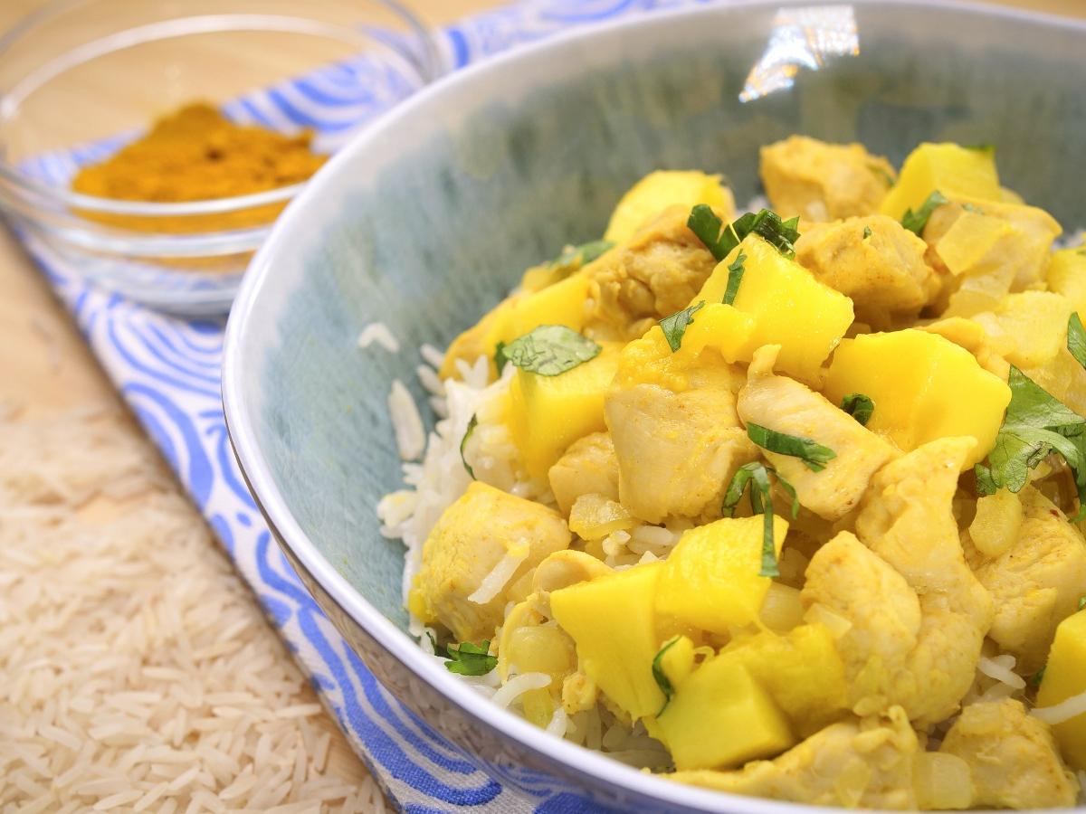 caril de frango com arroz de coco super rapido