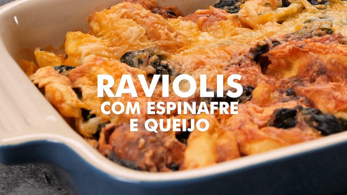 raviolis com espinafres e queijo
