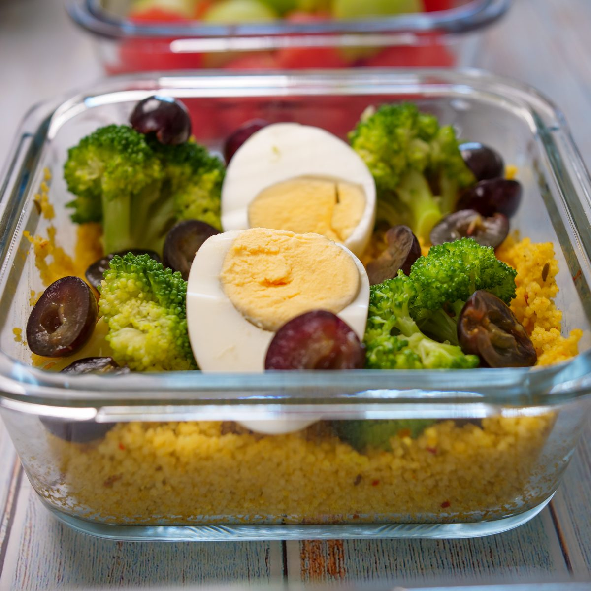 salada de cuscus legumes e uva